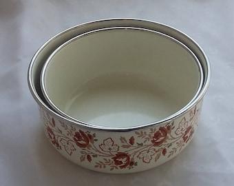 Set of Two Enamel Bowls Brown Floral Design
