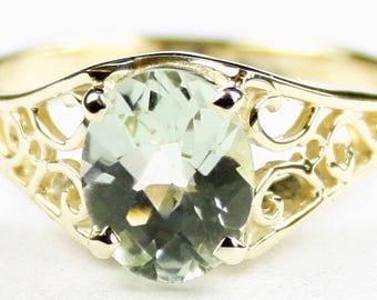 Green Amethyst, 18KY Gold Ring, R005