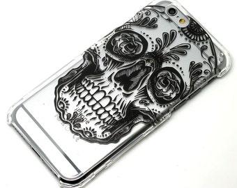 Black Sugar Skull Dia De Los Muertos Transparent Clear Phone Case iPhone 6, 7, SE, 6 Plus, 7 Plus, 6S, 5, 5S, Galaxy S6, S7, Note 5, Note 7