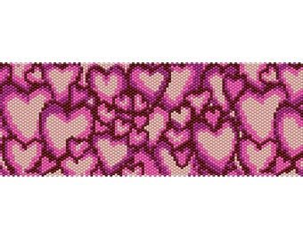 Hearts #4 Peyote Bead Pattern, Bracelet Cuff, Bookmark, Seed Beading Pattern Miyuki Delica Size 11 Beads - PDF Instant Download