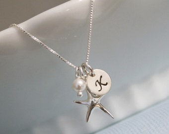 Beach Wedding Necklace, White Pearl, Starfish and Custom Initial Sterling Silver Necklace, Bridesmaid Necklace, Bridesmaid Gift