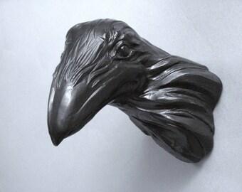 Egon 1105, Raven, Crow, Bird, Faux Taxidermy, Wall Sculpture, Handmade, Steve Eichenberger, Wall Art