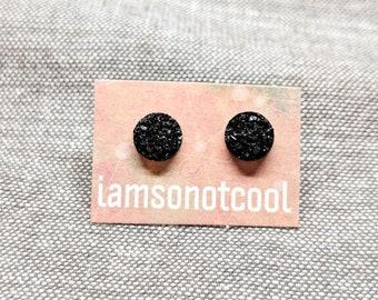 Black Druzy Stud Earrings / Black Studs / Black Post Earrings / 8mm Stainless Steel / Faux Druzy Studs / Micro Druzy Tiny Studs