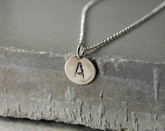 Tiny Sterling Silver Initial Necklace, Block-Style Font, Polished Finish, Made to Order