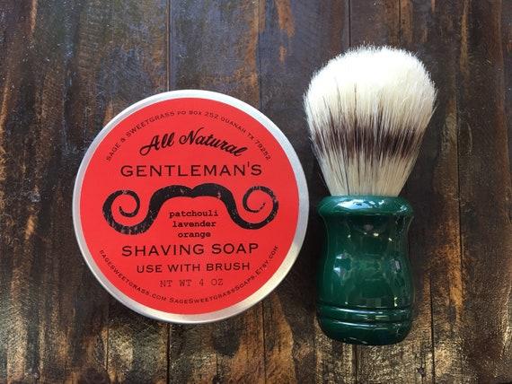 SHAVING GIFT KIT {Shaving Soap, Metal Tin, Shaving Brush, Burlap Gift Bag}