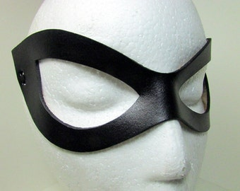 Superhero Leather Mask / Harley Quinn Mask / Cosplay Mask / Flat Black / Leather Mask / Ms Marvel / Harley Quinn/ Costume/ Harley Mask/ Mask
