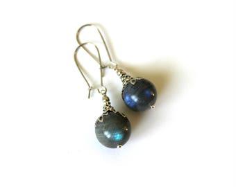 Labradorite Earrings, Rainbow Labradorite Earrings, Labradorite Jewelry, Grey Gemstone Earrings, Grey Bead Earrings, 14 mm Labradorite Beads