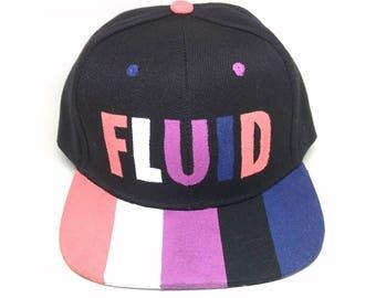 Genderfluid Pride Transgender LGBTQ+ Hand Painted Snapback Hat Genderfluid Hat Transgender Hat Nonbinary Hat Genderfluid Pride Trans Pride