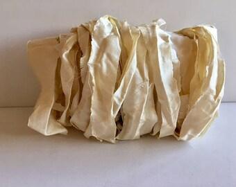 Sari Ribbon-Recycled Antique White Sari Ribbon-10 Yards