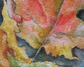 Artist Trading Card of Autumn Leaves Painting Watercolor Fall Color Leaves Original Painting Small Format Art