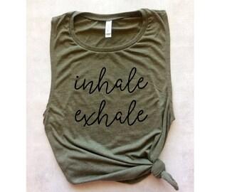 yoga tank top, yoga workout shirt, inhale exhale tank, muscle tee, graphic tee, namaste tank top, barre tank, running tank, gym tank