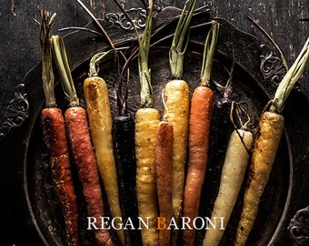 Food Photography, Food Art, Still Life Photography, Home Decor, Kitchen Decor, Restaurant Art, Wall Art, Rainbow Carrots, Vintage