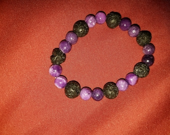 Amethyst and lava bead bracelet