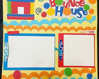 Bounce House Scrapbook Page - Premade Scrapbook Pages - 12x12 Page - Birthday Scrapbook Page - Summer Scrapbook Page - Bounce House Party
