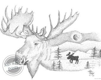 Colorado Moose Print