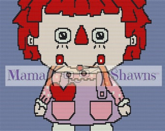 Crochet Graphghan, Written Pattern, Word Chart, Raggedy Ann Inspired, Row by Row Instructions, Crochet Pattern, PDF File, Vintage Cartoon