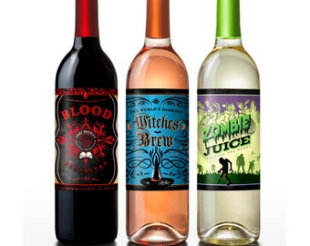 Creepy Party Decor | Halloween Themed Labels | fits standard wine bottle |  Instant Download - Digital File | Print Now | Instant Party