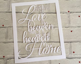Because someone we love is in heaven there is a little bit of heaven in our home paper cut, Memory Gift, Loved One, Memory Frame, Angel Gift