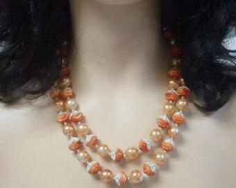 Orange & Elfenbein Halskette einzigartige Perlen VIntage-Schmuck Kostüm Orange Halskette Herbst Herbst Halskette