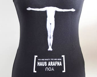 Haus Arafna top, one-of-a-kind, woman printed shirt, industrial music, size XS
