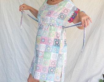 Light Colored Linen Dress, Linen Tunic,  OAK Made from Scratch,Multicolored Linen Dress,Summer Mini Dress,Drawstring Dress, Pure Linen Dress