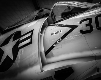 F3H Demon-Naval Aviation Fighter Aircraft-Fine Art-Black and white-Photograph-Wall Art-Digital Download-Print it your way and save!