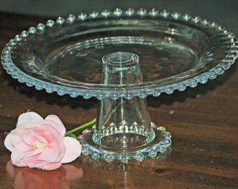 Candlewick Pedestal Cake Stand Clear Glass Imperial Glass