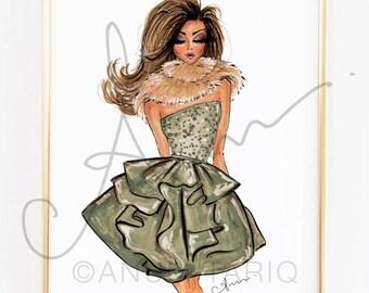 "Fashion Illustration Print, Party Dress, 8x10"""