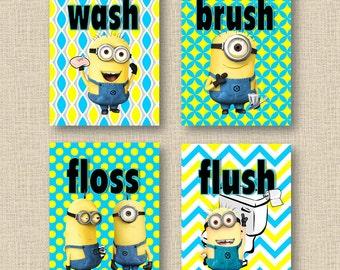 "Minions Wash Brush Floss Flush Kids 8""x10"" Bathroom Wall Art - Set of 4"