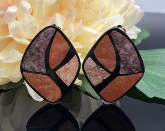 Agate Inlay Black Lucite Geometric Earrings, Mosaic Earrings, Stone Earrings, Statement Earrings, Black Orange Brown, Big 80s Earrings