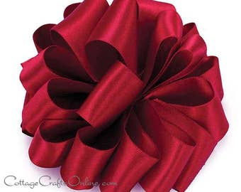 "Wired Ribbon, 1 1/2""  Red Double Sided Satin -  TEN YARD ROLL - Offray ""Chantal"" Scarlet, Ruby Red Wedding Satin, Wire Edged Ribbon"