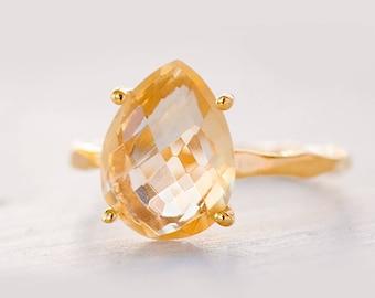 Yellow Citrine Ring Gold, November Birthstone Ring, Gemstone Ring, Stacking Ring, Tear Drop Ring, Prong Set Ring, Gift for Her, Dainty Ring