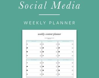 Weekly Social Media Planner - INSTANT DOWNLOAD - Printable PDF -  Facebook, Twitter, Instagram, Pinterest