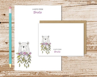personalized stationery set . bear with flowers notepad + note card set . girls notecards stationary set . gift set