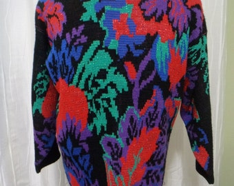 Vintage 80s-90s Sweater, (Size: Women's Medium/Large?), Jungle Look, Pull-over, Retro Jungle, Cosby, Black Acrylic, USA