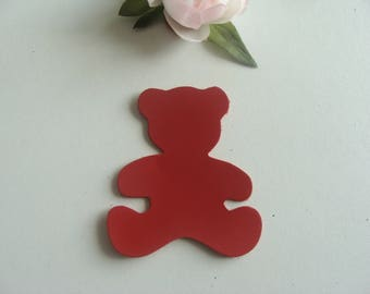 2 leather applique bear Red 7 * 6, 3 cm