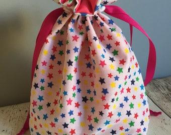 Medium handmade drawstring bag