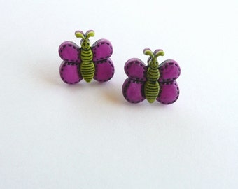 ns-CLEARANCE - Purple and Green Butterfly Stud Earrings