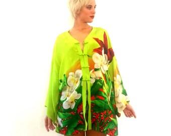 Vibrant VTG 1980's Floral Silk Kimono