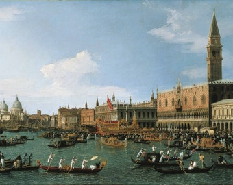 Canaletto: Return of 'Il Bucintoro' on Ascension Day. Fine Art Print/Poster. (003326)