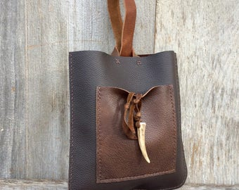 Leather Bow Bag made in Rustic Distressed Chestnut Brown Leather by Stacy Leigh - Gift for Her - Tote Bag - Handbag - Fashion - Full Grain