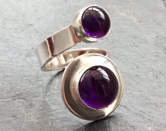 Two Amethyst spiral ring
