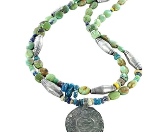 "TIBETAN TURQUOISE NECKLACE with Ancient Mali Glass Sterling 16.5"" New World Gems"