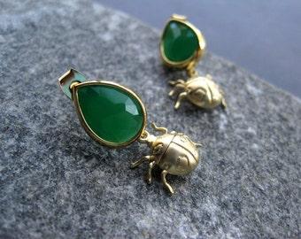 Ladybug Earrings - Gold Ladybug Earrings - Nature Earrings - Insect Jewelry - Modern Gold Earrings - Statement Earrings - Spring Earrings