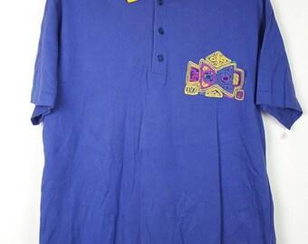Vintage LANCEL PARIS With Abstrack Colourfull Design Polo Shirt