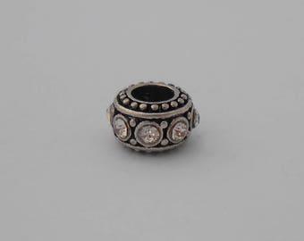 Bead spacer European Bracelet Charm 11mm white rhinestone
