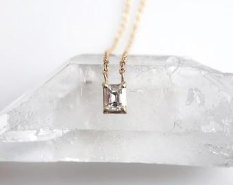 Solid 14 karat Gold Emerald Cut Diamond Solitaire Portrait Necklace