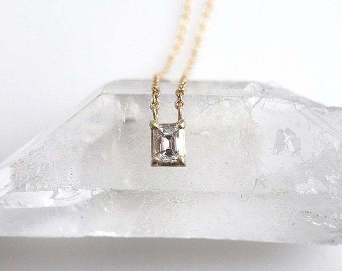 Gold Diamond Solitaire Portrait Necklace