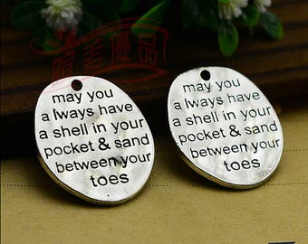 Strong 8pcs 30x27mm antiqued silver may you always have a shell in your pocket and sand between your toes charms findings pendants