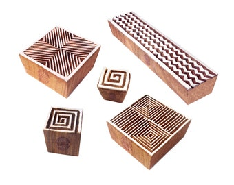 Elegant Shapes Chevron and Geometric Wooden Stamps for Printing (Set of 5) - Htag1119